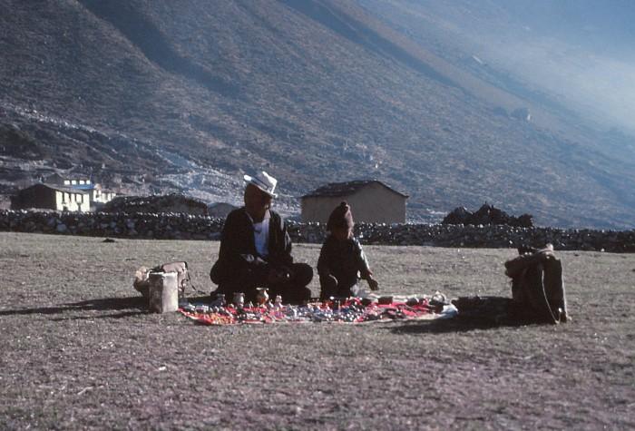 Tibetan vendor and child in Nepal